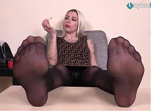 Blonde secretary nylon feet POV teasing and smoking