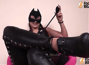 Barefoot italian domina humiliates your small penis