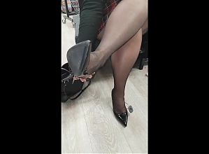 mom trying new shoes on her stinky nylon feet