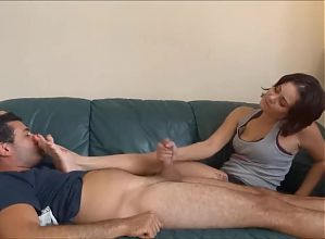 foot smelling and Handjob footjob