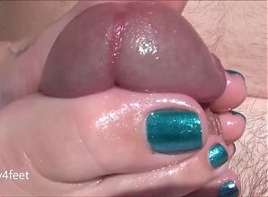 Wife's Outside Footjob - Shinny Teal Nails