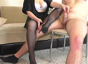 Teen Teacher in Pantyhose and High Heels Femdom Handjob